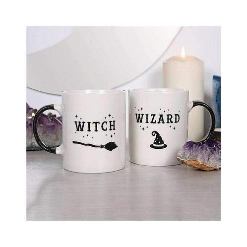 "Set Of 2 ""Witch & Wizard"" China Fun Mug Set"