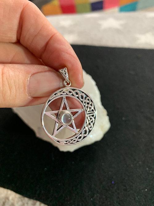 Peter Stone Celtic Pentagram, Crescent Moon with Moonstone