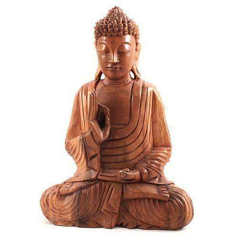 Large Beautiful Hand Carved Rustic Buddha Statue 40cm