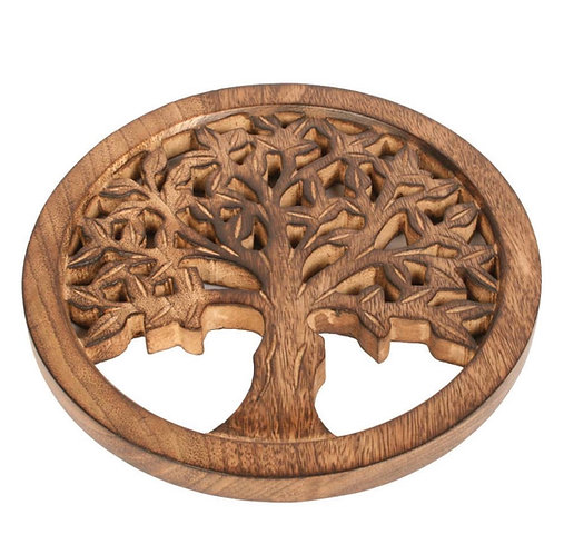 Carved Round Mango Wood Tree of Life Trivet.