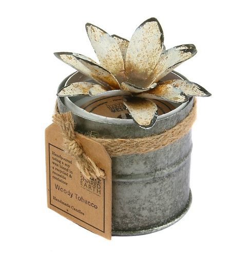 Candle Distressed White 6.5cm Lotus
