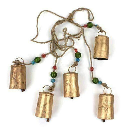 Rustic Five Cow Bell String With Chunky Beads: Handmade, Fairtrade 93cm