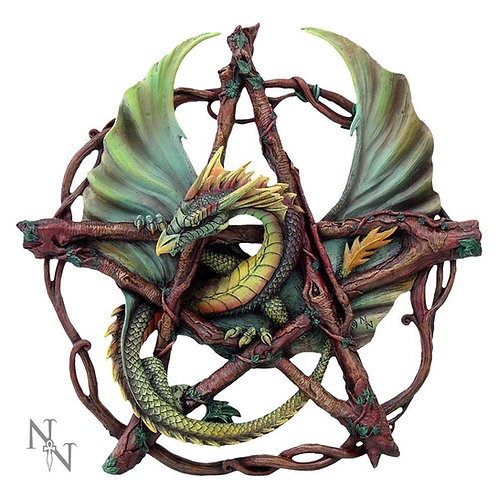 Forest Pentagram Dragon 32.5cm Hand Painted Wall Plaque