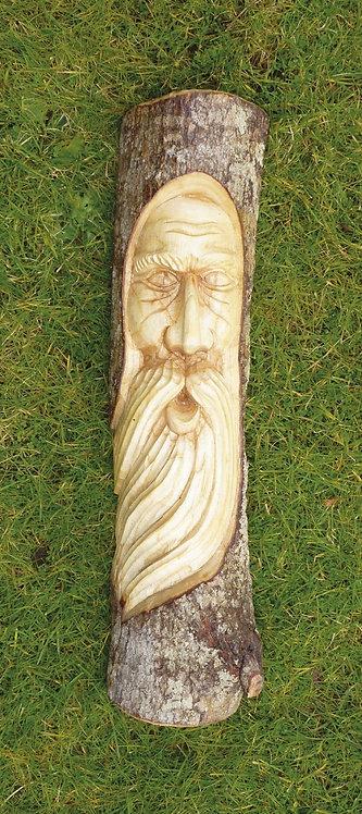 Green man Half Log Carving