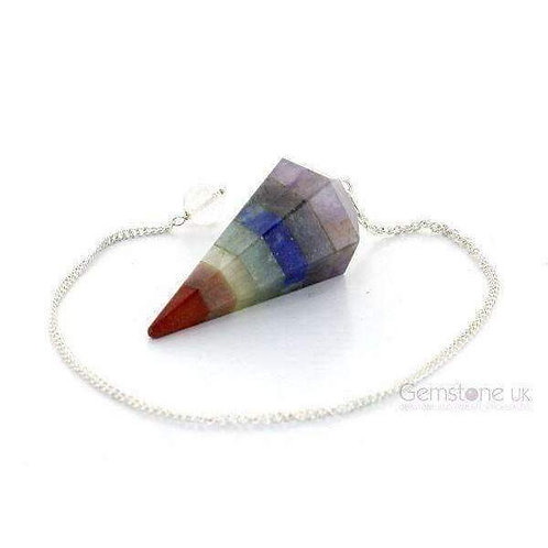 Beautiful & Unique Meditation Chakra Layer Faceted Cone Pendulum Approx 47mm