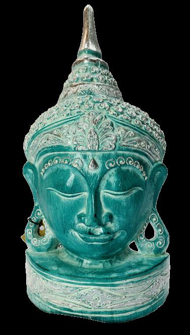 Wooden Buddha Green & Silver 30cm