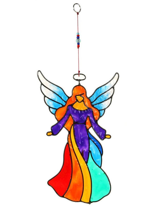 Suncatcher Angel Open Arms Rainbow 11x18cm
