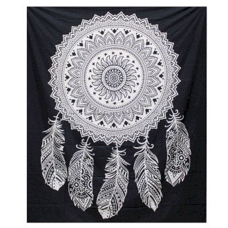 Black and White Double Cotton Bedspread/Wall Hanging - Dreamcatcher