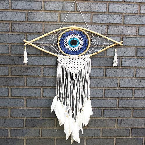 Protection Dream Catcher - Lrg Macrame Evil Eye Blue/White/Black