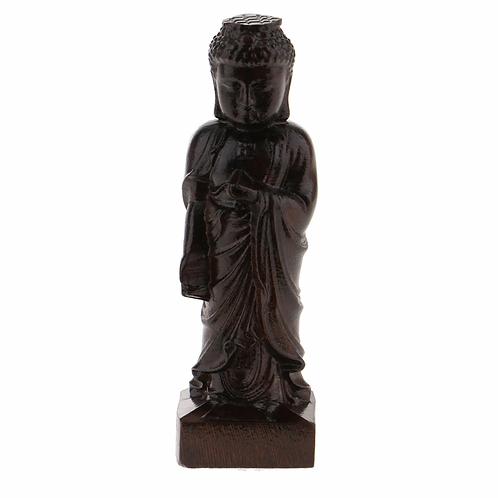 Hand Carved Small Wooden Sakyamuni Monk Statue (90mm)