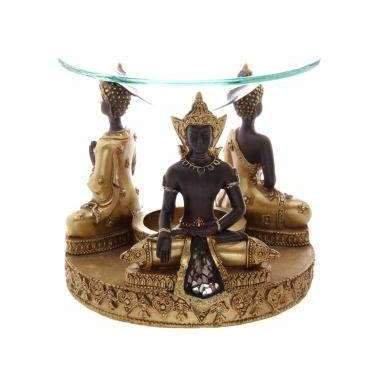 Thai Buddha Oil Burner In Gold & Brown with Glass Mosaic Detail 15cm