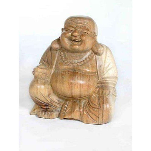 "Hand Carved ""Laughing""  Buddha Wooden Statue: 20cm"