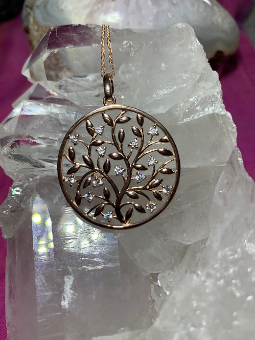 Rose Gold plates Stirling Silver Tree of Life Pendant