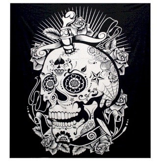 Black & White Double Cotton Bedspread/Wall Hanging - Rose Skull