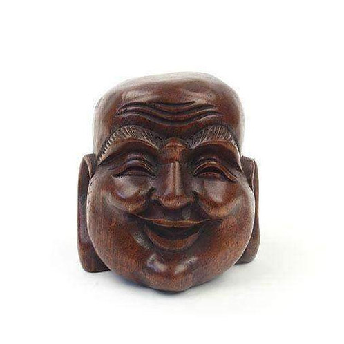 Wooden Carved Budai Head