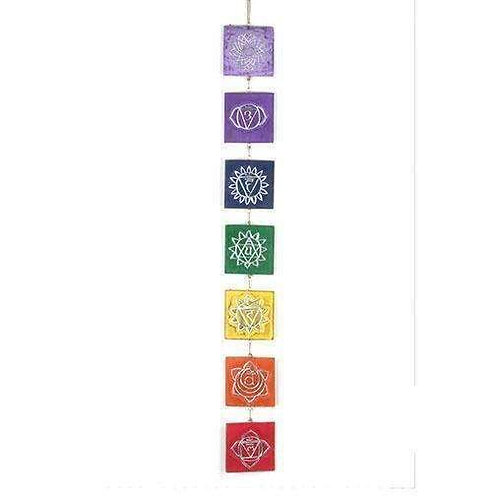 Wonderful Hand Carved Square Hanging Wooden Chakras 95cm