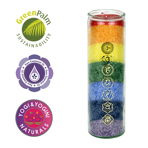 Chakra Rainbow Candle -  7 Chakras with Essential Oils 21cm, (100 Hours)