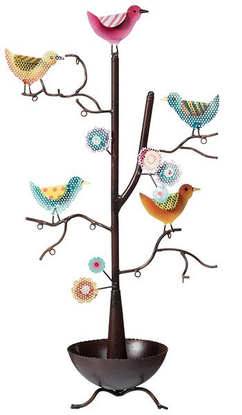Multi Coloured Bird Jewellery Tree