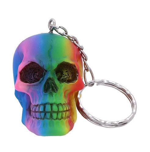 Rainbow Skull Keyring 4.3cm