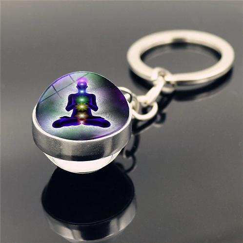 7 Chakra Yoga Meditation Glass Ball Key Chain: Random Design