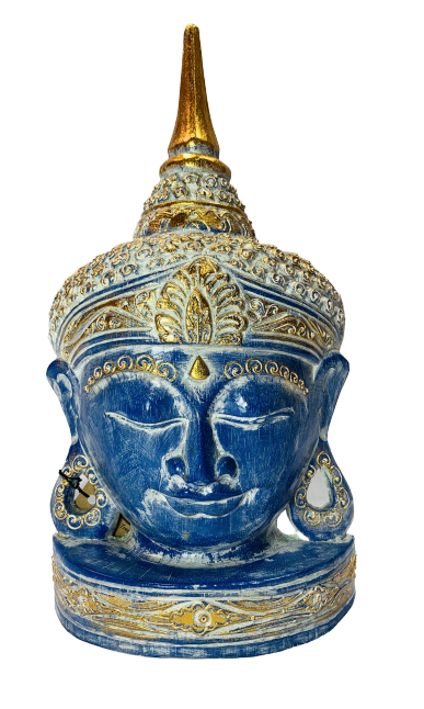 Wood Buddha Blue Gold 30cm