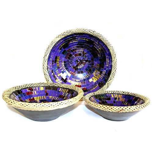 Set of Three Rattan Mosaic Bowls - Purple Glow