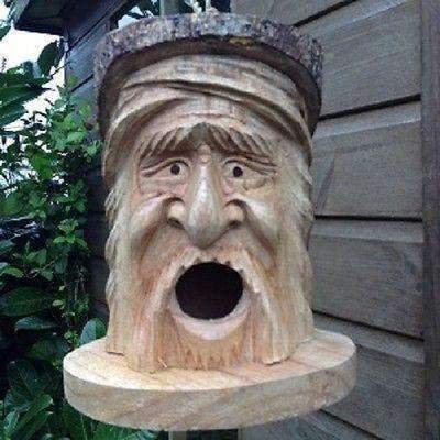 Hand Carved Wooden Forest Man Bird House &Tree Hanging. Approx 25cm