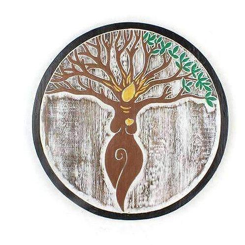 Unusual Hand-Carved,Tree Goddess Plaque Fair Trade