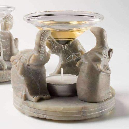 """Hand Carved Soapstone Oil Burner """"Elephant"""" Design"""