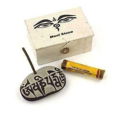 Traditional Buddhist Mani Stone Set: Wisdom and Compassion.