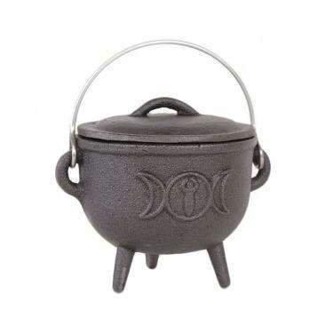 Cast Iron Cauldron with Triple Moon