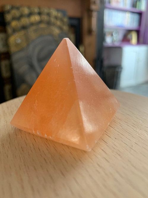 Peach Selenite Carved Pyramid