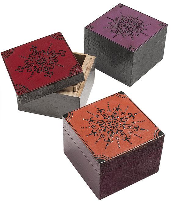 Hand Painted Square Mango Wood Box