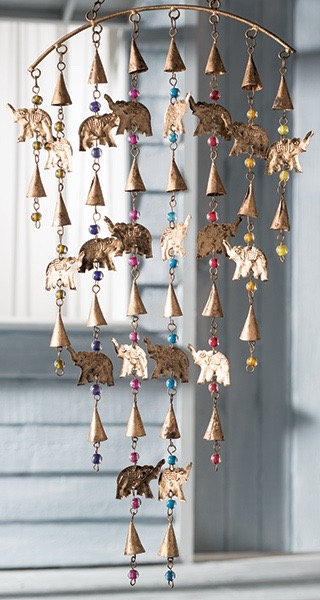 Elephant Windchime mobile with Mixed Beads