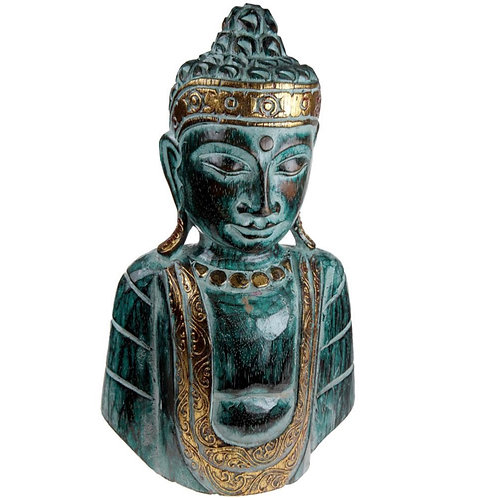 Hand Carved and Painted Green and Gold Wooden Buddha Face