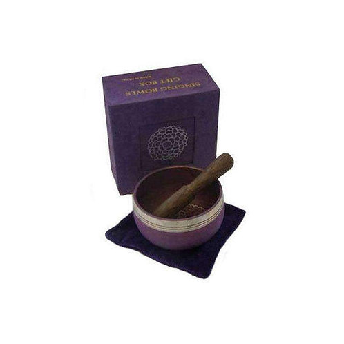 "Purple Singing Bowl Gift Set (3"") A Lovely Smooth Tone"