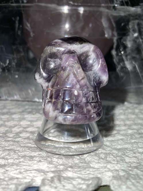 Chevron Amethyst Carved Skull