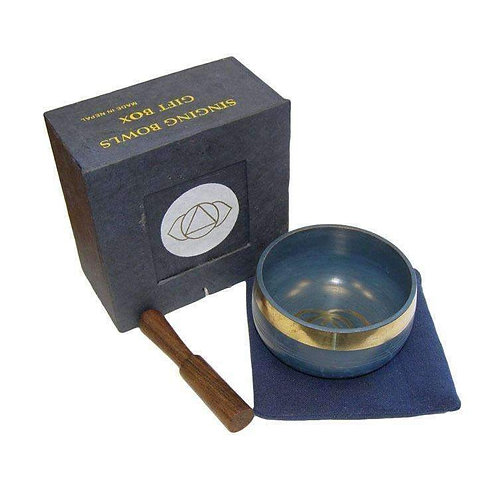 """Blue Singing Bowl Gift Set (3"""") A Lovely Smooth Tone"""