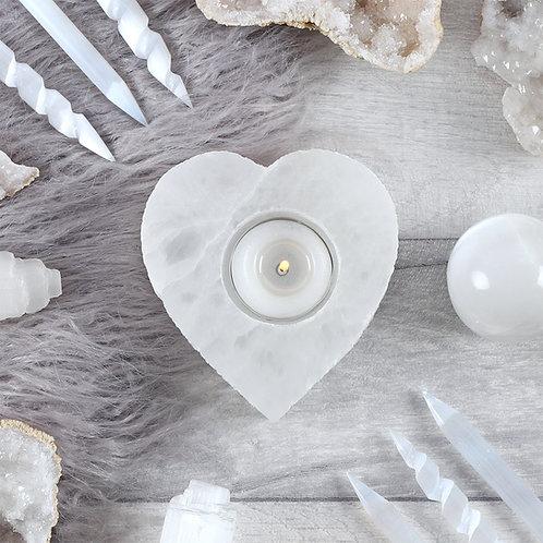 Selenite Heart-shaped Tealight Holder