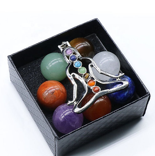 Chakra Meditation Gift Set With Healing Crystals and Pendant