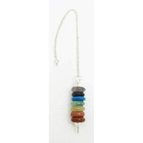 Stunning Chakra Disc Pendulum, 7 Gemstones: 25g