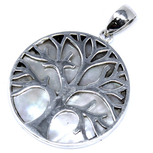 Tree of Life Silver Pendant 30mm - Mother of Pearl