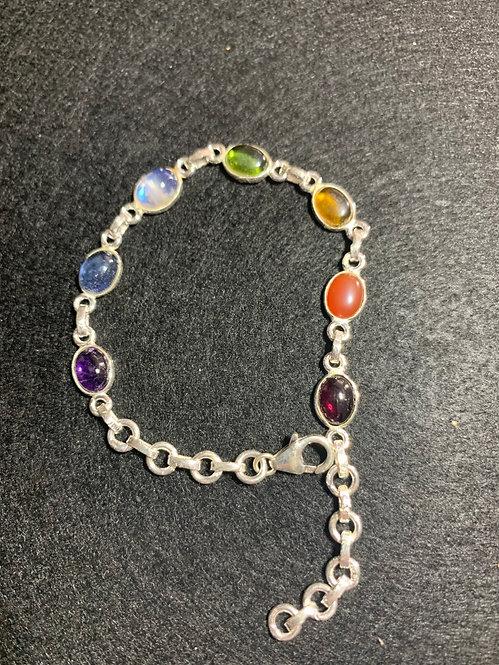 Seven Chakra Sterling Silver Bracelet