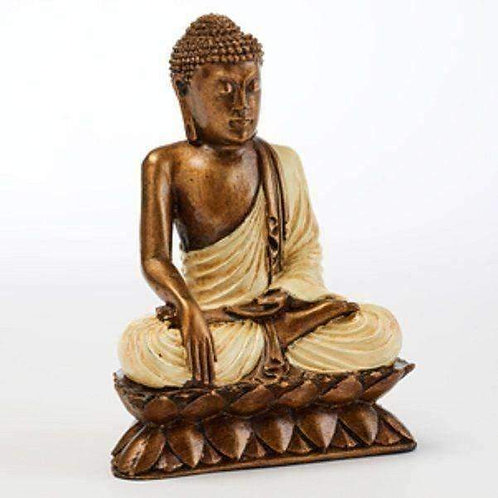 Sitting Serene Meditating Resin Thai Lotus Buddha Statue: Random Colours