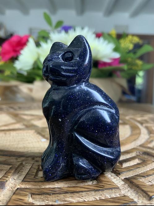 Blue Goldstone Carved Cat