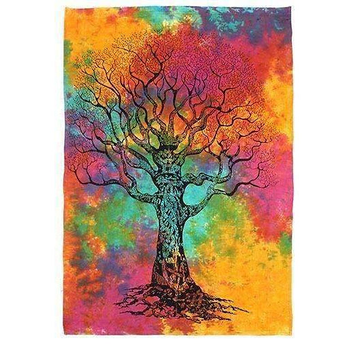 """Richly, Hand Printed, Cotton """"Celtic Tree""""  Wall Hanging"""