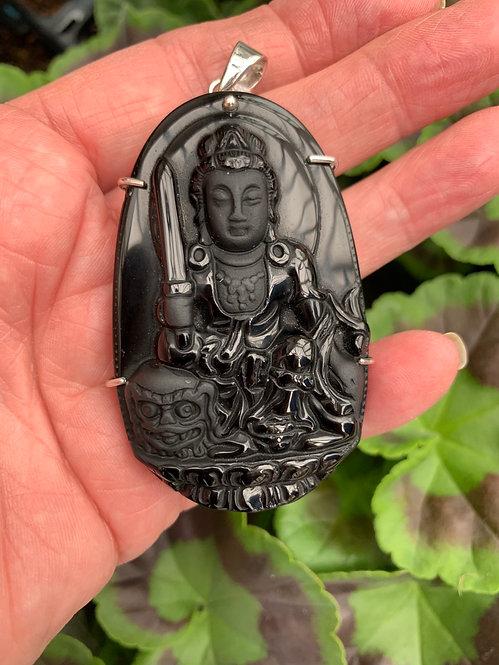 Manjushri Obsidian Hand Carved Pendant