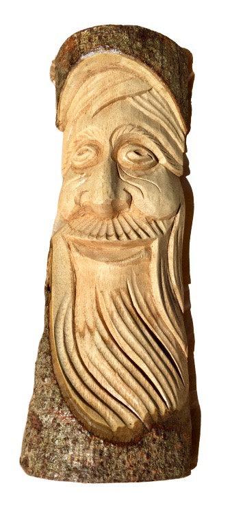 Laughing Green Man Log Carving 30cm