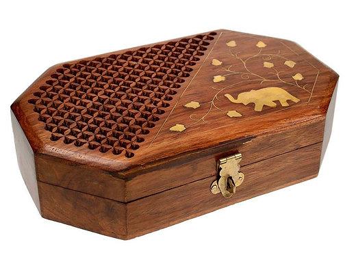 Hand Carved Shesham Wood Box