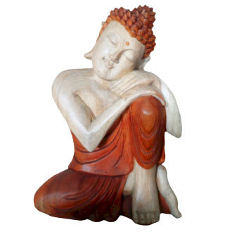 "Hand Carved ""Thinking"" Buddha Statue - 30cm"